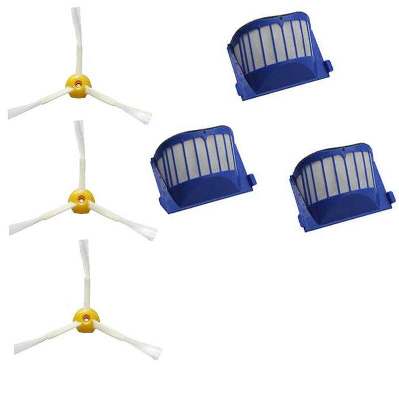3 Side Brush 3 Armed + 3 Aero Vac Filter for iRobot Roomba 500 Series 536 550 brush 3