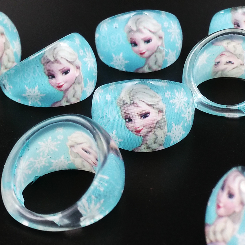 2016 New Fashion 50pcs Lovely Cute Cartoon Elsa Children Rings Kids Girls Round Finger Ring