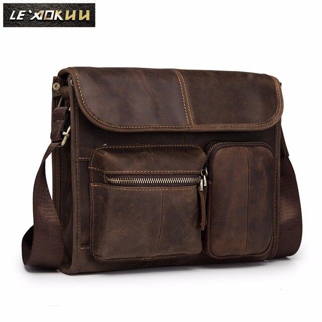 78cca5d8f26a0 Leather Male Designer Casual Shoulder Messenger Crossbody bag Fashion  Tablets Pad Mochila Satchel University School Book bag 202