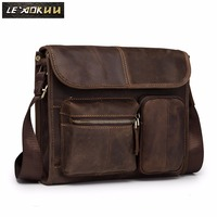 Leather Male Designer Casual Shoulder Messenger Crossbody bag Fashion Tablets Pad Mochila Satchel University School Book bag 202
