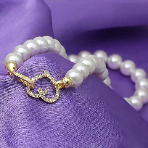 Forme de coeur Micro Pave Zircon plaqué or 925 bijoux en argent Sterling fermoirs résultats avec embouts pour collier de perles SC-CZ067A - 4