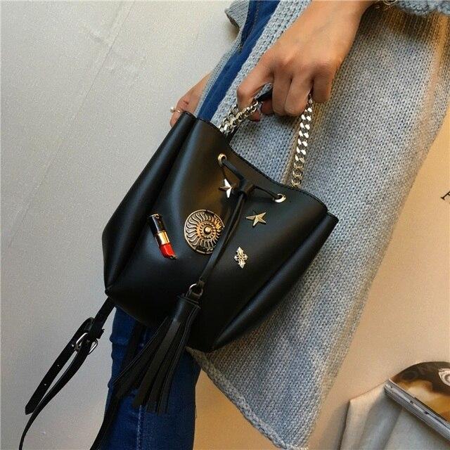 2017 Korean new Strass shoulder bag messenger bucket bag tide fashion personality