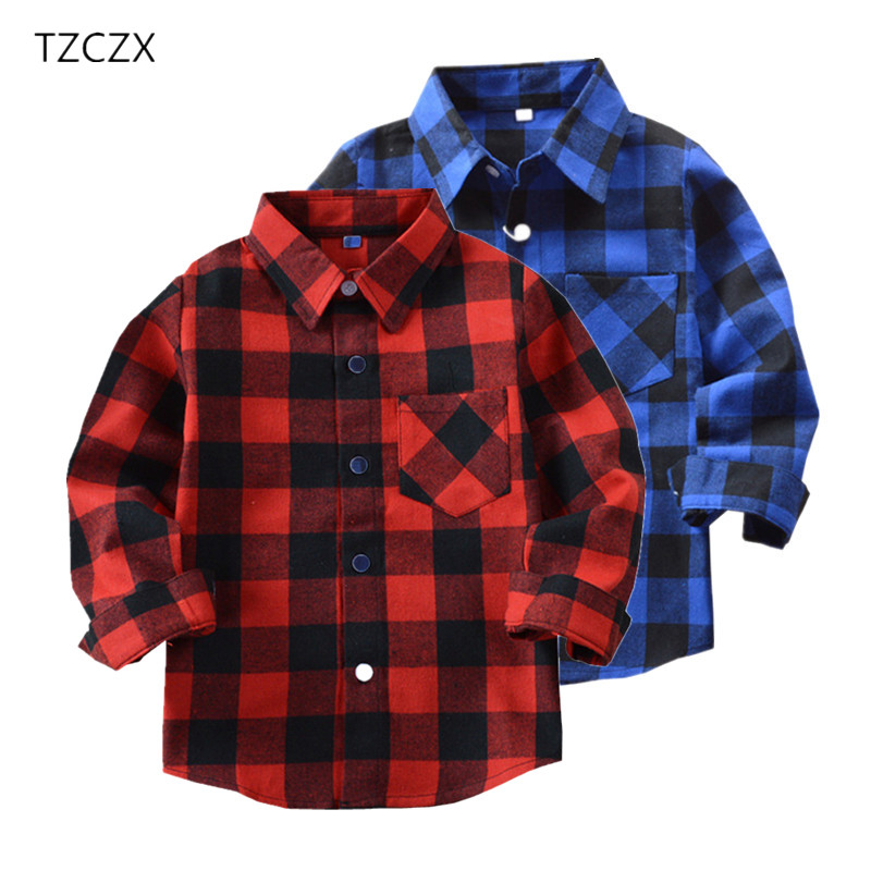 TZCZX 1 unids venta caliente niños camisas de los muchachos de tela escocesa ocasional por 3-14 años niños niño primavera / otoño desgaste plaid