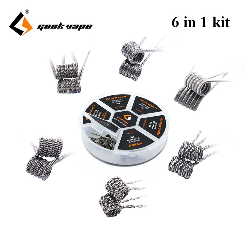 Original Geekvape 6 in 1 Coil Pack for RDA/RTA/RDTA DIY Atomizer Tank E-Cigarette wire original geekvape 6 in 1 coil pack for diy atomizer alien alpha braid fused clapton tidal coil rda rta rdta atomizer coil