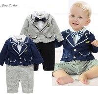 Jane Z Ann Bébé garçon messieurs salopette 2 couleurs infantile enfant en bas âge à manches longues bow tie dot outfit bébé école style onesie