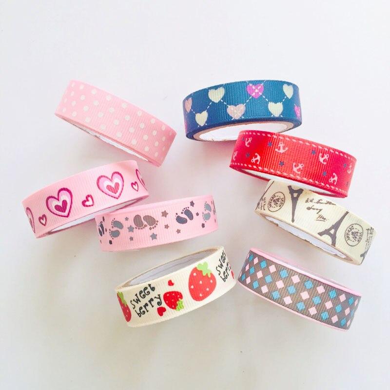 1PC Sweet Strawberry Tower Hearts DIY Decorative Fabric Washi Tape Masking Tape Stickers Stick Label Book Computer Decor