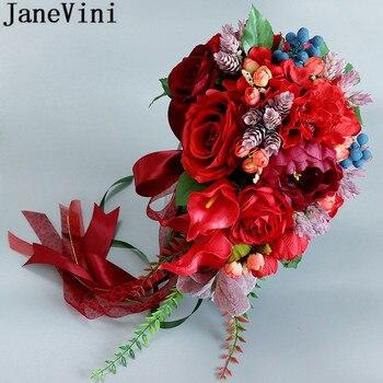 JaneVini Vintage cascada roja ramo De flores De novia Rosa Artificial cala Lily broche para novio novia ramos De Marie