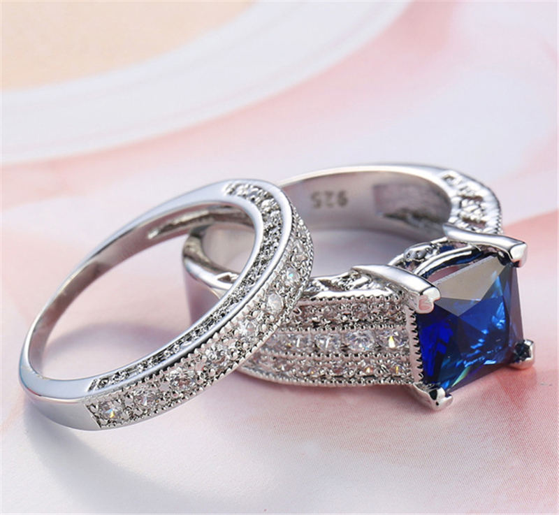 White Gold-Color Micro Blue White Zircon Pave Setting Finger Ring Set For Women Wedding Ring Promise Jewelry