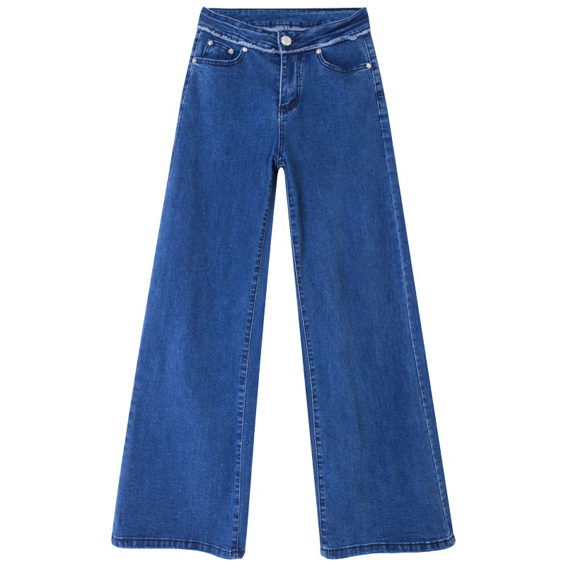 ACRMRAC Women jeans New Spring and autumn High waist blue Stitching Slim Loose Large size Full Length Wide leg pants jeans Women 5