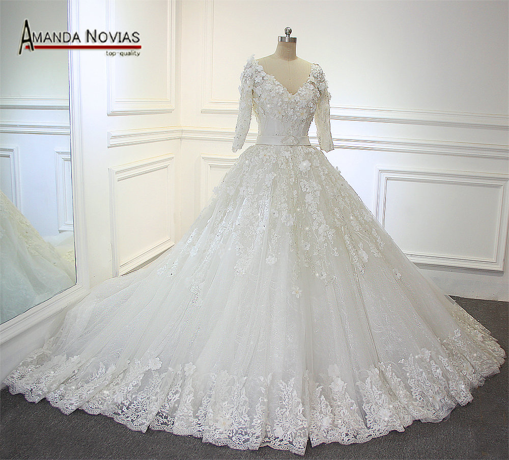 Real Photos Amanda Novias 34 Sleeves V Neck Luxury Long Train Wedding Dresses 2017