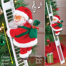 1 Pcs Electric Climbing Ladder Santa Claus Christmas Figurine Ornament Decoration Gifts YJS Dropship