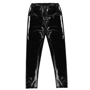 Image 3 - Мужское нижнее белье, облегающие блестящие обтягивающие брюки из лакированной кожи для ночного клуба и вечерние, леггинсы, брюки с отверстием для пениса