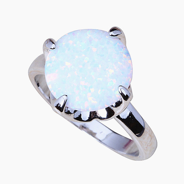 Rare Round Rings Popular online White fire Opal 925 Silver Ring