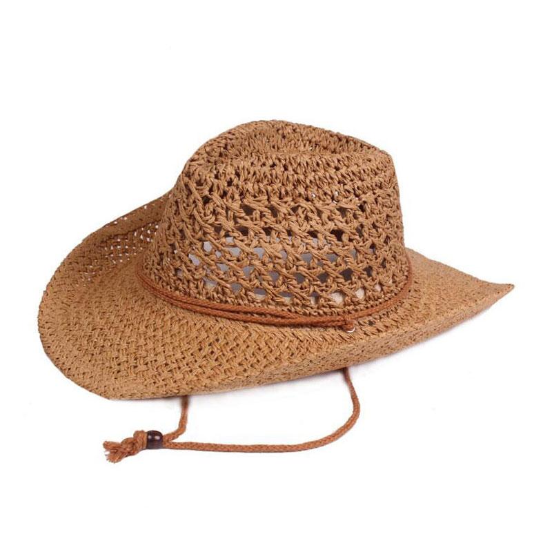 Men Cowboy Western Hat Unisex Crochet Straw Chapeau Adult Panama Cap  Outdoor Beach Hats And Caps For Men Summer Hat Women-in Cowboy Hats from  Men s Clothing ... bae7075966e5