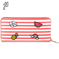 Leather Wallets For Girls Fashion Long Zipper Purse Preppy Style Striped With Cartoon Decals Lady Wallet