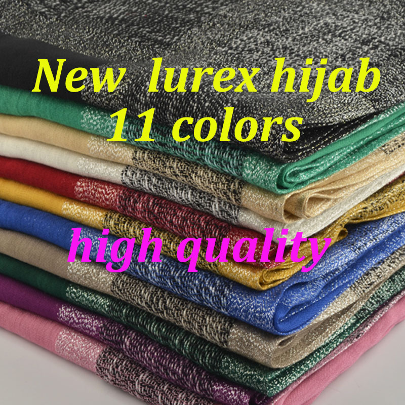 New shimmer viscose hijab plain shiny scarf with lurex plain glitter shawls Muslim hijab elastic lurex