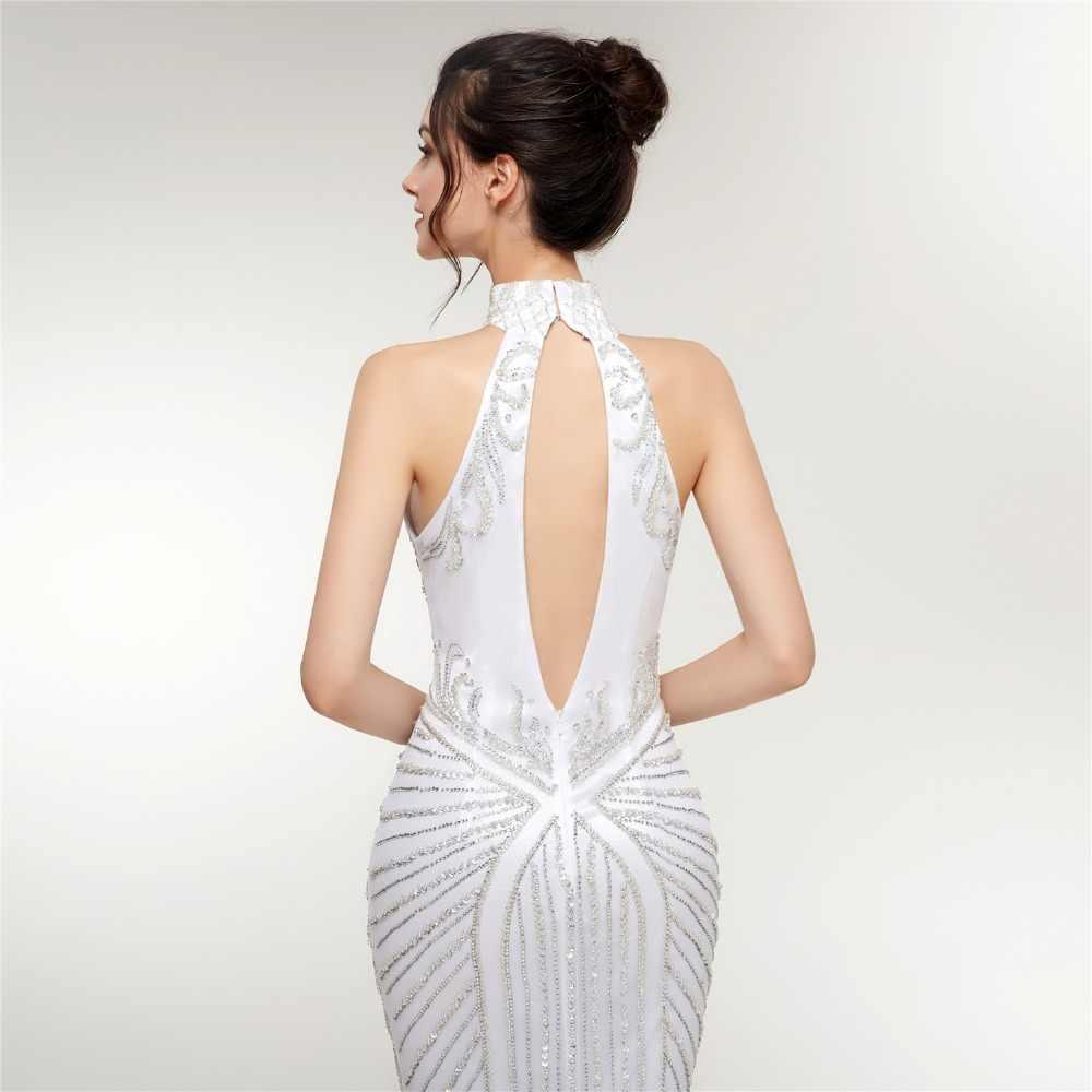 JaneVini 2018 יוקרה חרוזים פאייטים לבן טול ארוך שושבינה שמלות בת ים גבוהה צוואר ללא משענת פורמליות לנשף שמלות לטאטא רכבת