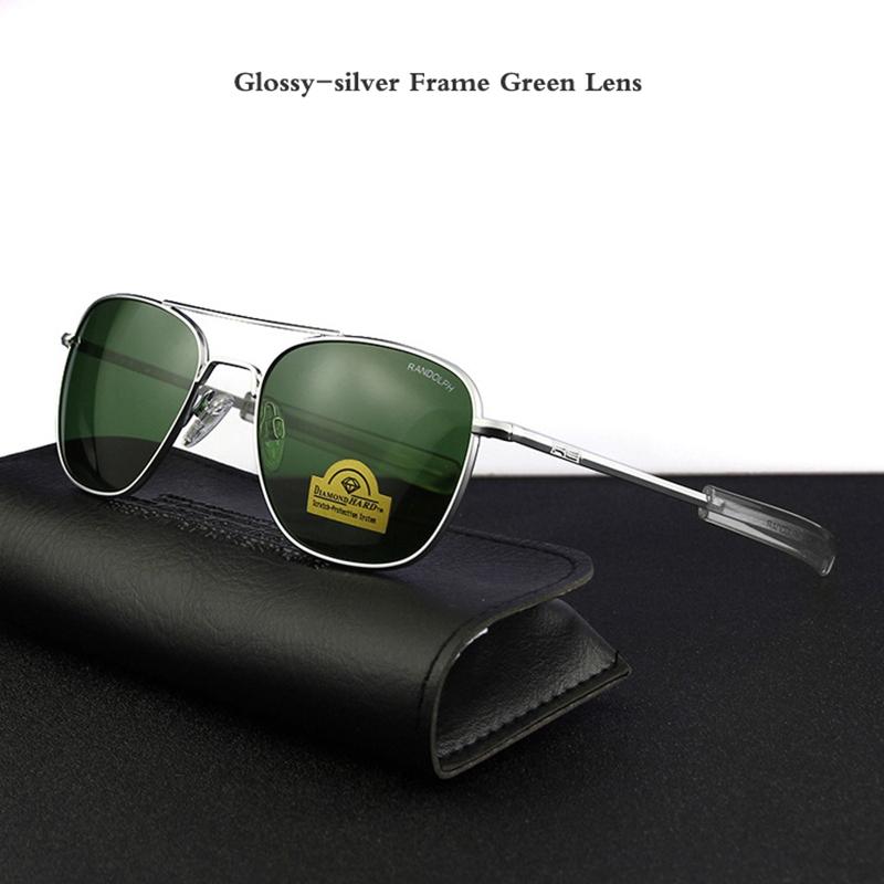 Glossy-silver Frame Green Lens