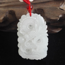 цены Natural Afghanistan white jade Hand Carved Dragon Pendant Zodiac Jade Pendant Necklace Jewelry Free Shipping