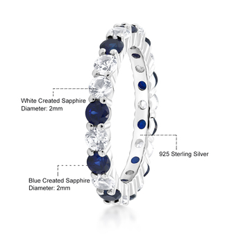GemStoneKing Wedding Gorgeous 2.20 Ctw Blue  White Sapphire 925 Sterling Silver Eternity Ring Bands New Jewelry for Women Bague