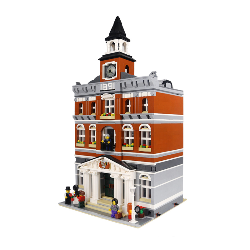 New 15003 2859Pcs City Hall Model Building Blocks Children's DIY Toy Gift LEPINES Compatible 10224 lepin15003 2859pcs city series the town hall model building kits blocks kid toy gift compatible with 10224