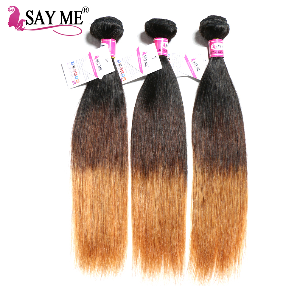 SAY ME Ombre Brazilian Straight Hair 1 3 4 Bundles Human Hair Weave Bundles Deal Three