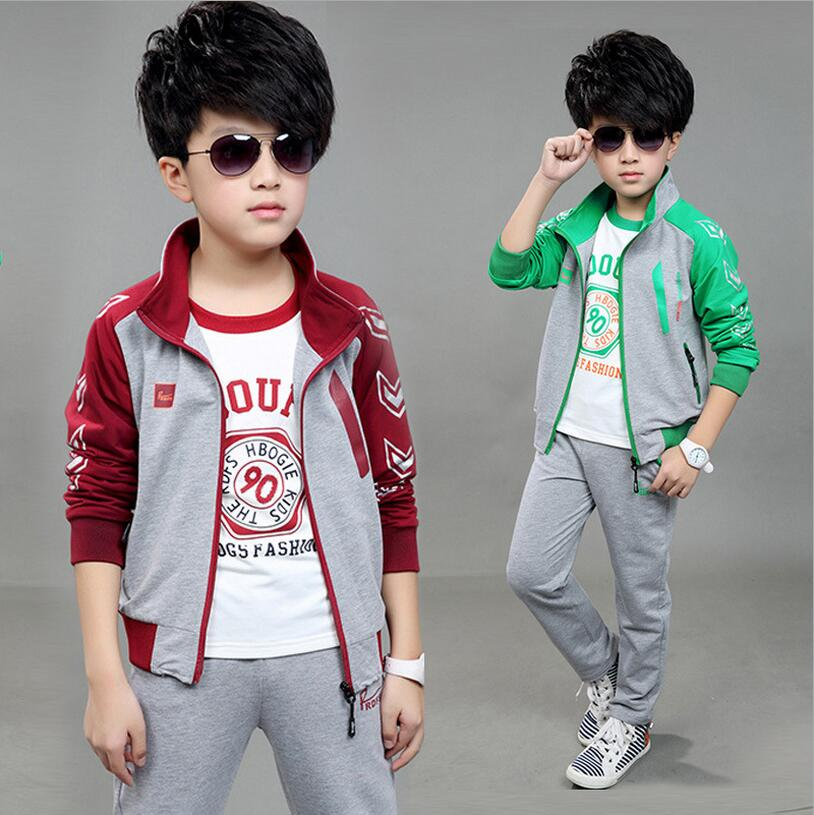 ФОТО 2016 New Children Boys Clothing Sets Sports Tracksuits Disfraces Ninos Clothes For Boy Outfits Coat With Pants Three-piece Suit