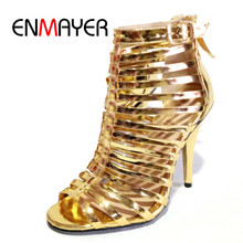 ENMAYER Luxury Women Sandals Sexy Gladiator Shoes Street Style Fashion Woman High heels Zi8pper Gold CR512