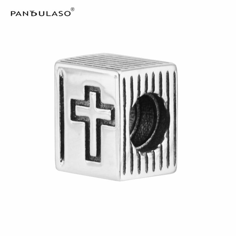Pandulaso Cross Bible Book Vintage Beads for Women Jewelry Making Fashion Silver 925 DIY Jewelry Fit Brand Logo Charms Bracelets