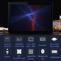 2018 Tablet PC 10.1 inch Android 8.0 Tablet pc Ram 4GB ROM 64GB 8 Octa Core Dual SIM 4G LTE Bluetooth Wireless FM IPS Phone