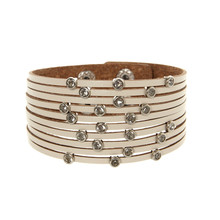 ORNAPEADIA New Hot Jewelry Bohemia bracelet VOGUE recommended style Stylish multilayer leather bracelet adjustable for women stylish golden hollow rounded rectangle hasp bracelet for women