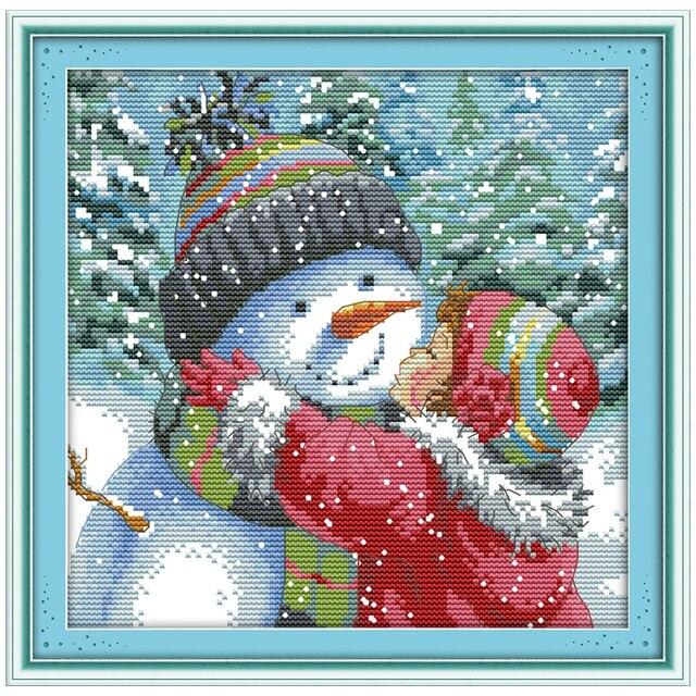 Вышивка поцелуй снеговика купить