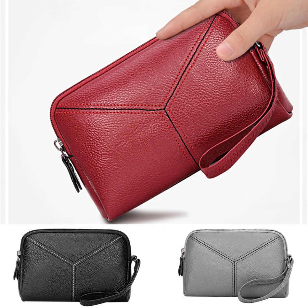 Wanita Fashion Tas Ponsel Multi-Fungsi Koin Dompet Ponsel Tas Dompet Kulit Hitam Zipper Kartu L * 5