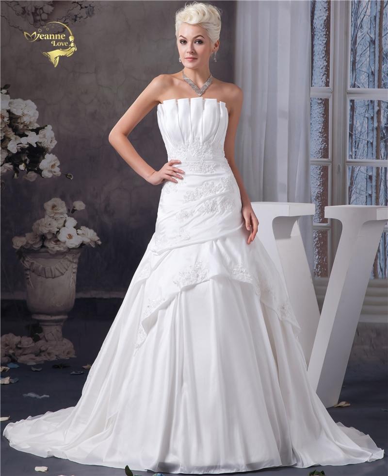 Jeanne Love White Taffeta Wedding Dresses 2019 New Applique Beading Off The Shoulder Vestido De Noiva Robe Mariage JLOV75969