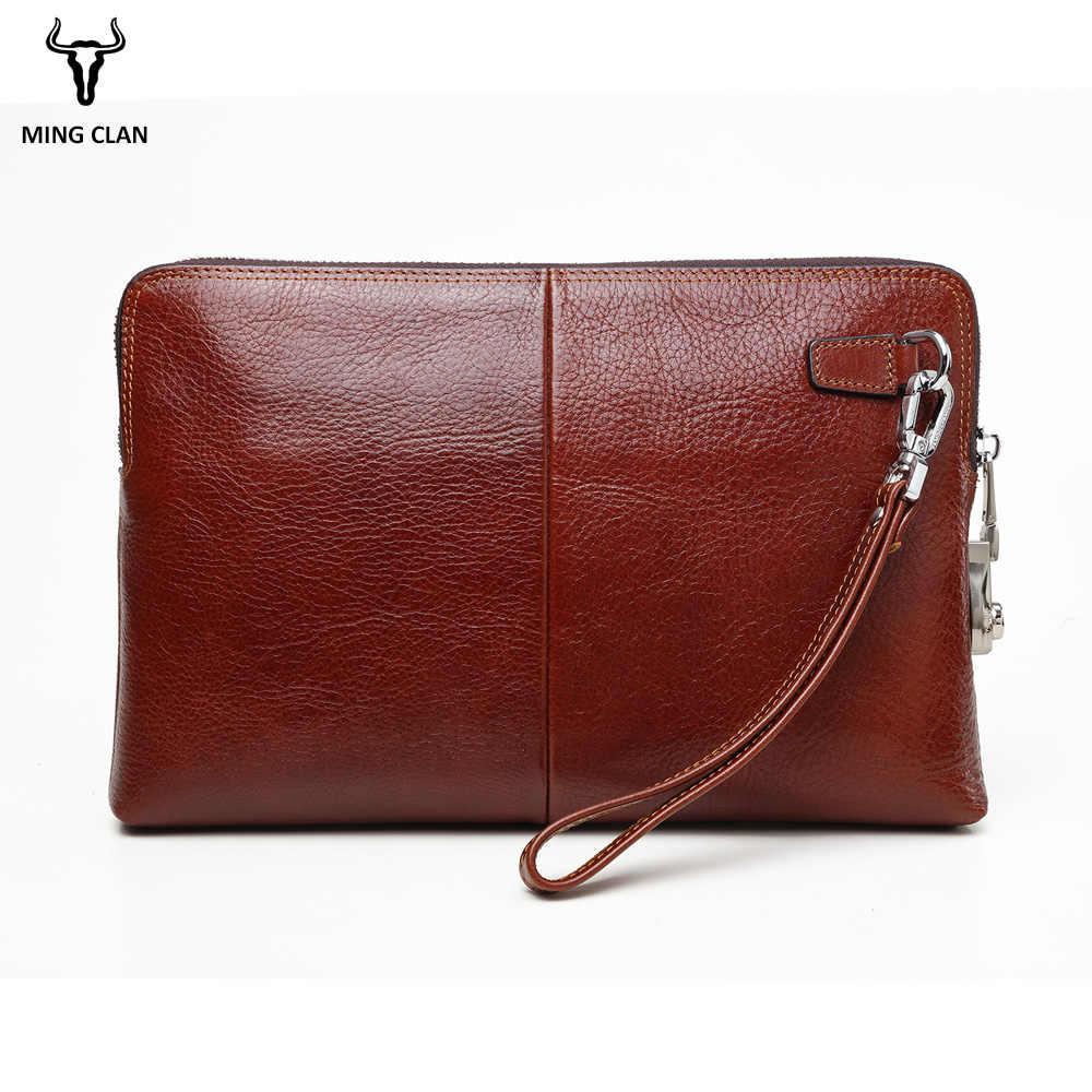 e025ded30ecb ... Mingclan Anti-theft Code Lock Wallet Genuine Leather Men s Clutch Bags  for Men Zipper Cow ...
