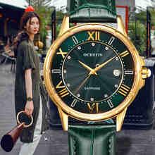OCHSTIN موضة جديدة للنساء ساعات فاخرة الماس والجلود التقويم مقاوم للماء ساعة كوارتز Relojes Mujer 2019 ماركا دي لوجو على مدار الساعة