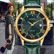 OCHSTIN חדש אופנה נשים שעונים יוקרה יהלומי עור לוח שנה עמיד למים קוורץ שעון Relojes Mujer 2019 Marca דה Lujo שעון