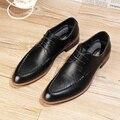 Moda Dedo Del Pie acentuado Planos de Los Hombres de Oxfords de cuero Genuino de tendencia zapatos de Boda Con Cordones zapatos de Vestir de Negocios 022