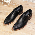 Pointed Toe Fashion Men Flats Genuine leather Oxfords trend Wedding shoes Lace-Up Business Dress shoes 022