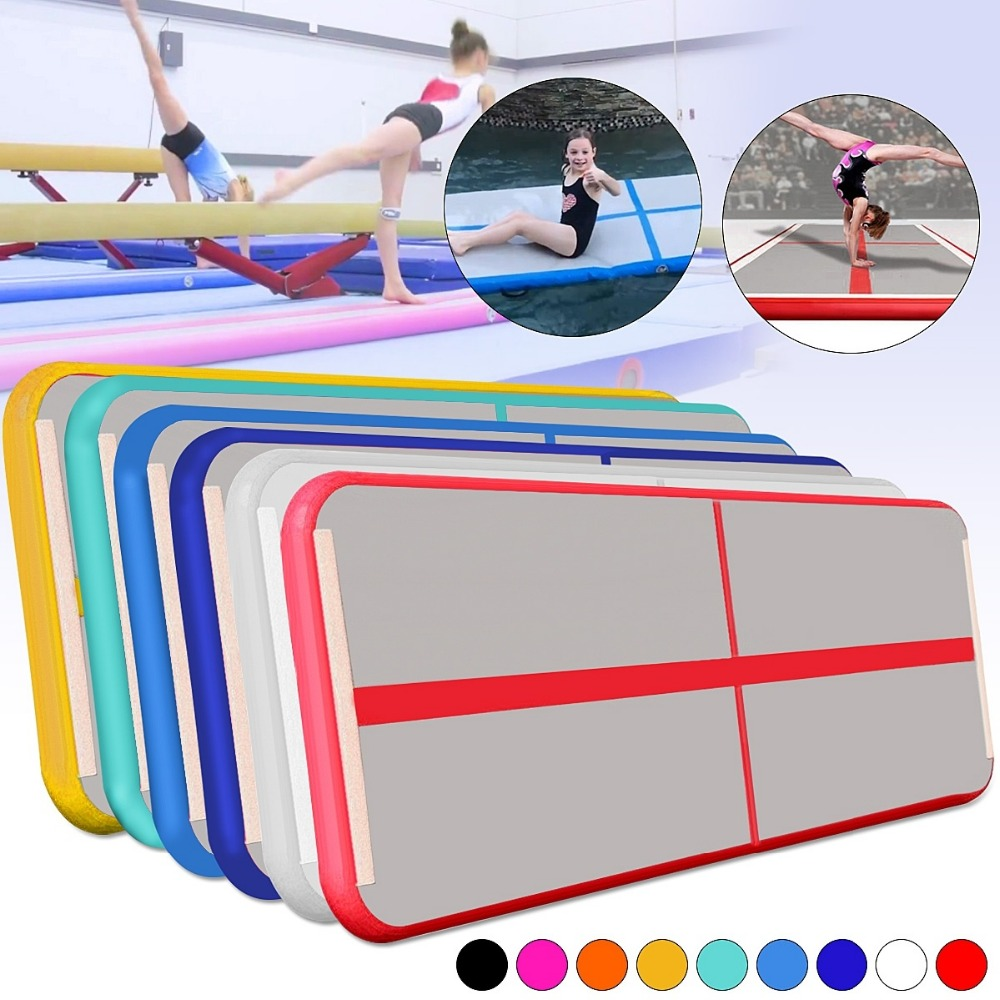 Gofun AirTrack 300x90x10cm Air Track Mat Set Tumbling Gymnastics Exercise Pad Inflatable Gym Training Mats Air Floor gofun airtrack 10ft x 3 ft air tumbling track mat gymnastics exercise pad inflatable gym training mats balance beam 110v air