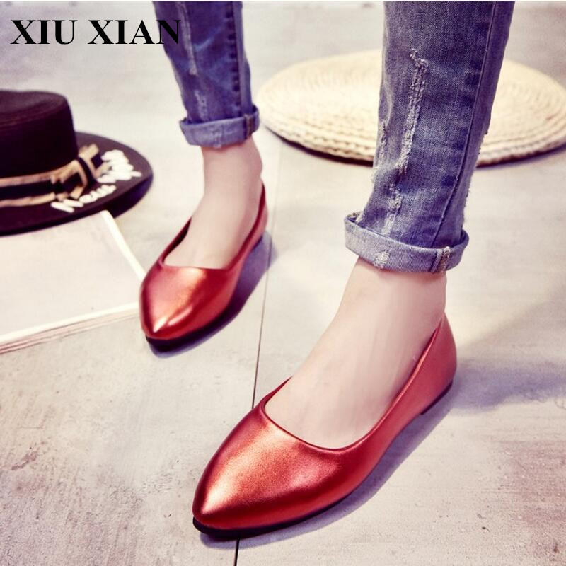 Low Price Korean Summer Women Flats Pointed Toe Ballet Flats Shoes Low Heel Slip on Solid Ladies Shoes Rubber Soles Soft Loafers spring summer women leather flat shoes 2017 sweet bowtie flats women shoes pointed toe slip on ladies shoes low heel shoes pink
