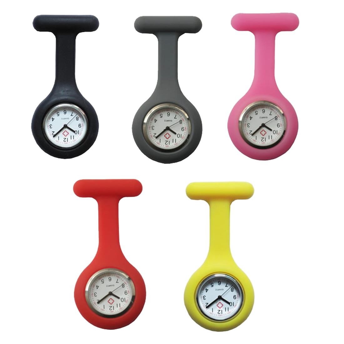 5PCs/Lot Pocket Watch Clip-On Fob Quartz Brooch Hanging Rubber Silicone Nurse Watch Fashion Casual Men Women Relogio Feminino