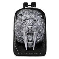 Fashion Men's 3D King Lion Tiger Retro Leather Backpack Cool Rivet Leather Travel Back Pack Bag Male Laptop Rucksack Black Gold