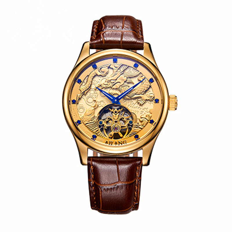 Dragon style Luxury Brand Men Leather Gold Watch Men's Automatic mechanical Watch male Clock Wrist Watches Relogio masculino soft leather mens mechanical wrist watch dragon pattern laser engraving carving gold black business men male hand wind watches