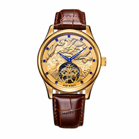Dragon style Luxury Brand Men Leather Gold Watch Men's Automatic mechanical Watch male Clock Wrist Watches Relogio masculino