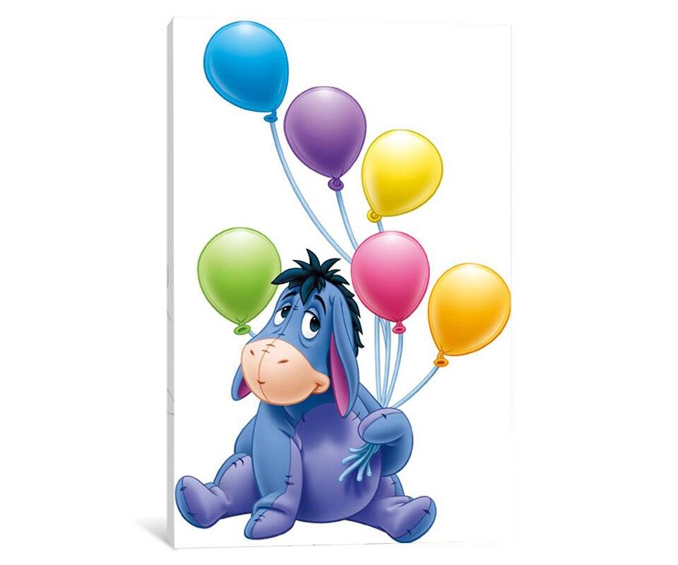 Открытка с днем рождения с пятачком и шариком