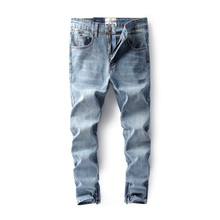 European American High Street Men Jeans Blue Color Cotton Denim Ankle Zipper Pants DSEL Brand Jeans Men Elastic Jeans Homme