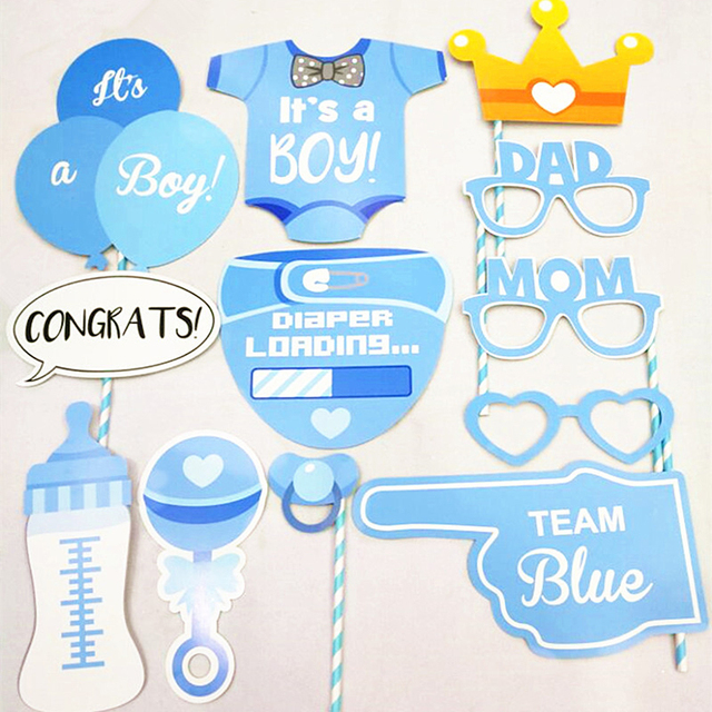 Photo Booth It Is A Boy Baby Shower Party Photobooth Props Newborn