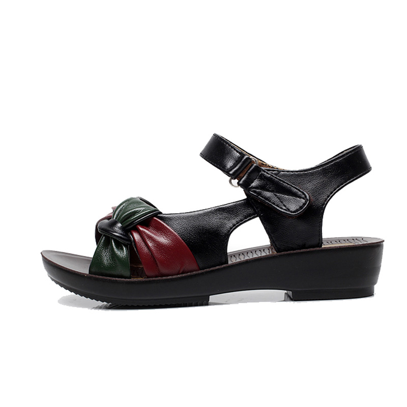 TIMETANG-2017-summer-Mother-shoes-flat-sandals-women-aged-leather-Soft-bottom-mixed-colors-fashion-sandals
