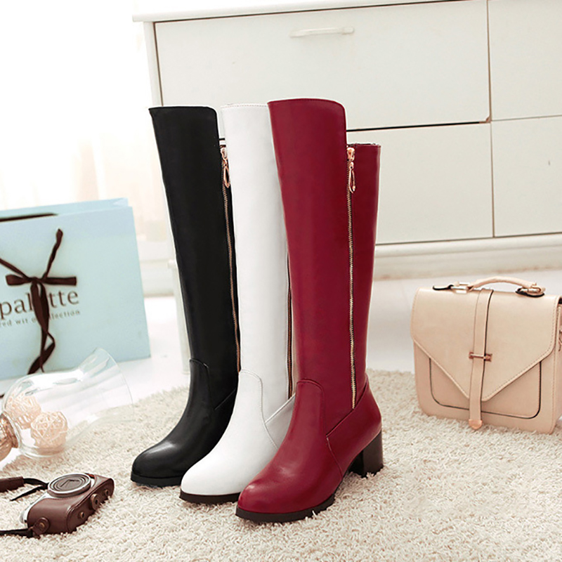 Mid Calf Boots 6cm High Heels Women Shoes Knee High Block Heel Boots Crystal Black White Red Fashion Ladies Boots Plus Size 43Mid Calf Boots 6cm High Heels Women Shoes Knee High Block Heel Boots Crystal Black White Red Fashion Ladies Boots Plus Size 43